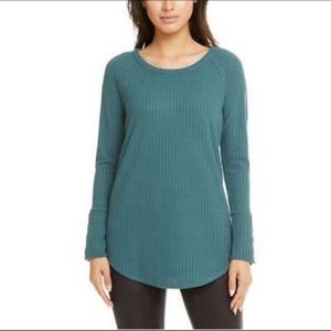 CHASER green waffle long sleeve thermal top
